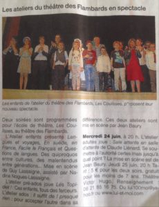 Article Atelier Théâtre Flambards